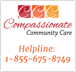 Compassionate Community Care: Advice, help and support regarding euthanasia and assisted suicide prevention and all end-of-life treatment issues. Call 1-855-675-8749.